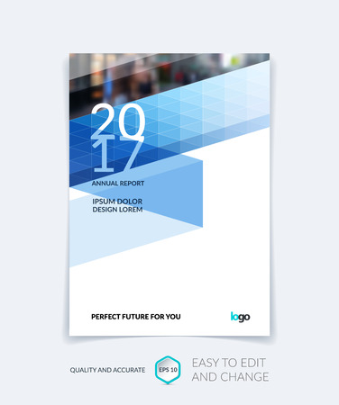 Brochure template layout, cover design annual report, magazine, flyer or booklet in A4 with blue triangles for business, technology and science. Vector design with digital pixel mosaic.