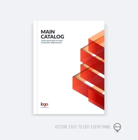 Folleto de diseño de plantilla, el informe anual de diseño de portada, revista, folleto folleto en A4 con rojo anaranjado formas geométricas triangulares dinámicos y plegable banda de la cinta. vector del asunto del estilo plano.