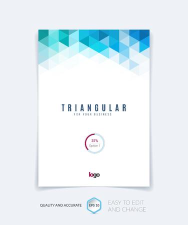 azul turqueza: Folleto de diseño de plantilla, el informe anual de diseño de portada, revista, folleto, folleto folleto en A4 con el azul turquesa de colores triángulos textura y el fondo poligonal. Ilustración del vector.
