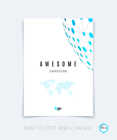 compounds: Brochure design, flyer, leaflet, with blue abstract molecule structure, genetic and chemical compounds. Cover template layout with science and connection concept or social network. Illustration
