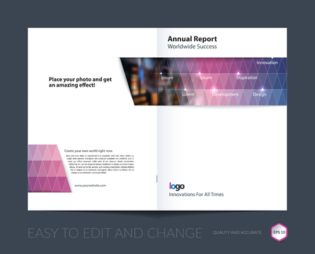 Brochure template layout, cover design annual report, magazine, flyer, leaflet in A4 with purple blue triangles for business, technology and science with overlay transparency effect. Vector.