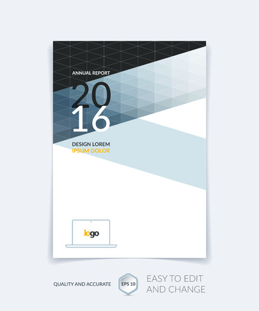 shape triangle: Brochure template layout, cover design annual report, magazine, flyer or booklet in A4 with grey triangles for business, technology and science. Vector design with digital pixel mosaic.