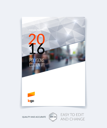 Brochure template layout, cover design annual report, magazine, flyer, leaflet in A4 with balck-white triangles for business, technology and science and polygonal background. Vector digital mosaic. Illustration