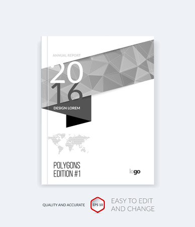 graphic texture: Brochure template layout, cover design annual report, magazine, flyer, leaflet in A4 with grey triangles for business, technology and science and polygonal background. Vector digital pixel mosaic.