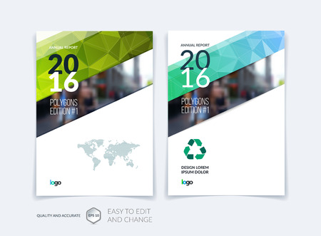 mosaic background: Set Brochure template layout, cover design annual report, magazine, flyer, leaflet in A4 with blue green triangles for business, technology and science and polygonal background. Vector digital mosaic.