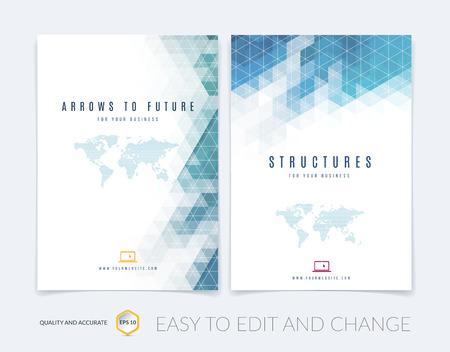 Set van Brochure sjabloon lay-out, cover ontwerp jaarverslag, tijdschrift, flyer, folder boekje in A4 met kleurrijke driehoeken textuur en veelhoekige achtergrond. Vector illustratie.