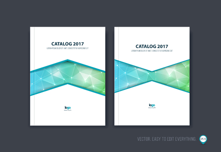Set of brochure template layout, cover design, annual report, magazine, flyer or booklet in A4 with green blue triangle geometric arrow shape on polygonal background. Business vector.