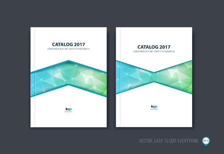 Set van brochure sjabloon lay-out, cover ontwerp, jaarverslag, tijdschrift, flyer of boekje in A4 met groen blauwe driehoek geometrische pijl vorm op veelhoekige achtergrond. Zakelijke vector.