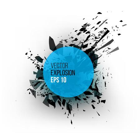 lucero: Nube abstracta explosión de color azul piezas de vidrio negro sobre fondo blanco para el diseño de la plantilla con el círculo. ilustración vectorial grunge.