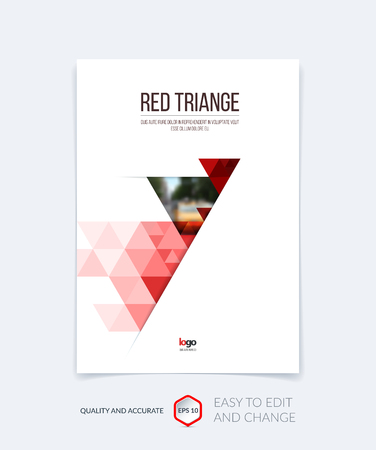 portadas de libros: Brochure template layout, cover design annual report, magazine, flyer, leaflet in A4 with red triangles for business, technology and science and polygonal background. Vector.