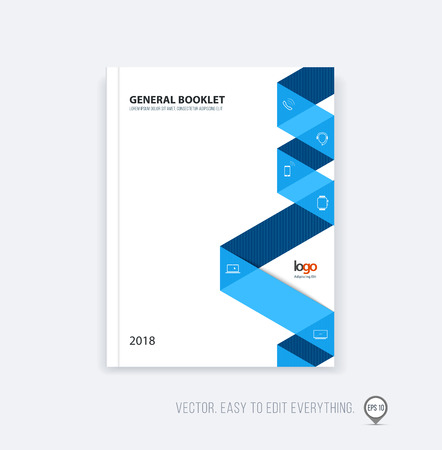annual report: Brochure template layout, cover design annual report, magazine, flyer booklet in A4 with blue dynamic triangular geometric shapes and folding stripe ribbon. Business vector flat style. Illustration