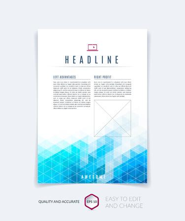 Brochure sjabloon lay-out, omslag ontwerp jaarverslag, tijdschrift, flyer, foldersboekje in A4 met blauwe turquoise kleurrijke driehoeken textuur en veelhoekige achtergrond. Vectorillustratie.