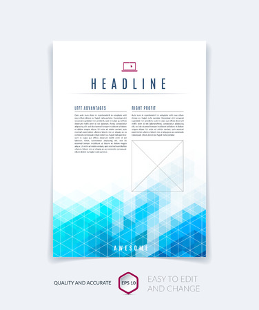 Brochure template layout, cover design annual report, magazine, flyer, leaflet booklet in A4 with blue turquoise colorful triangles texture and polygonal background. Vector Illustration.