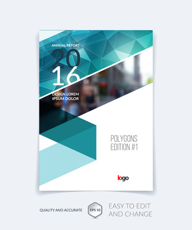 Brochure template layout, cover design annual report, magazine, flyer, leaflet in A4 with emerald triangles for business, technology and science and polygonal background. Vector.