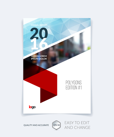 Brochure template lay-out, hoesontwerp jaarverslag, tijdschrift, flyer, folder in A4 met blauwe driehoekjes voor het bedrijfsleven, technologie en wetenschap en veelhoekige achtergrond. Vector.