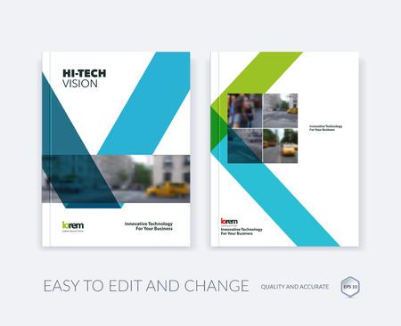 Set van Vector ontwerp voor Cover jaarverslag. Brochure of flyer template in A4 met een blauw lint streep vorm in vlakke stijl voor technologisch concept lay-out voor het bedrijfsleven. Abstract vector moderne poster.
