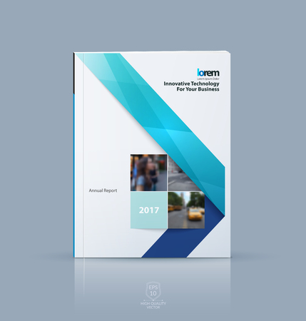 Vector design for cover annual report. Brochure or flyer template in A4 with blue ribbon stripe shape in polygonal style for technology concept layout for business. Abstract vector modern poster.