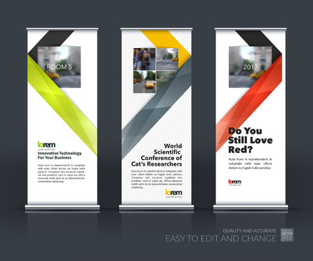 Vector set of modern Roll Up Banner Stand Design with abstract with colorful ribbon stripe shape in polygonal style for technology concept layout for business. Corporate vector vertical flyer.