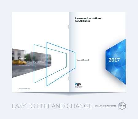 Abstract brochure template, cover design annual report, magazine, flyer, leaflet in A4 with blue shapes for business, technology in material design style with polygons overlay effect. Vector. Vettoriali