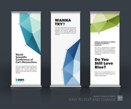 Vector set of modern Roll Up Banner Stand Design with abstract polygonal background with grid hi-tech communication connection concept. Creative corporate vector vertical flyer.