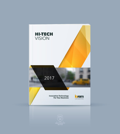Vector design for cover annual report. Brochure or flyer template in A4 with orange ribbon stripe shape in polygonal style for technology concept layout for business. Abstract vector modern poster.