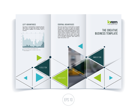 Vector design for folding brochure or flyer, leaflet in A4 with triangles and arrows for business and communication in flat style with grid connection concept. Abstract modern poster.
