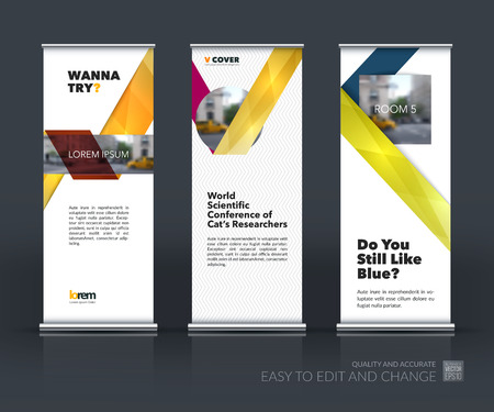 technology banner: Vector set of modern Roll Up Banner Stand Design with abstract with colorful ribbon stripe shape in polygonal style for technology concept layout for business. Corporate vector vertical flyer.