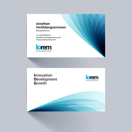 Vector business card template with blue soft shapes and waves background for business and beauty with beautiful overlap effect. Simple and clean design. Creative corporate vector layout. Çizim