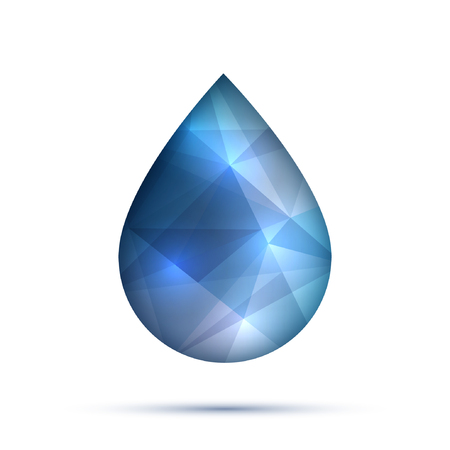 Polygonal water or oil or fluid drop, droplet, raindrop for business technology or science design template. Vector illustration. Teardrop and dew. Illustration