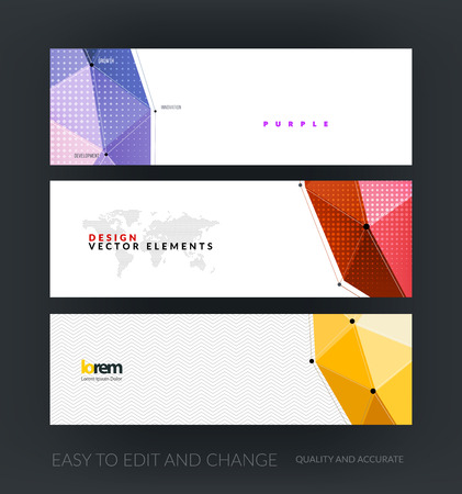 Vector set of modern horizontal website banners with colorful polygonal background with grid hi-tech communication connection concept. Clean web headers design. Creative corporate vector flyer.