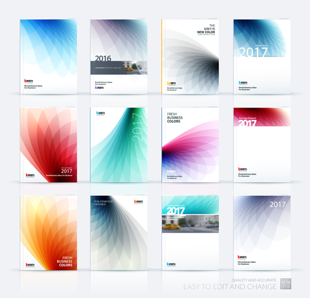 Brochure template layout, cover design annual report, magazine, flyer or booklet in A4 with colorful soft wave flower shapes for business and beauty template with beautiful overlap effect. Vector set.