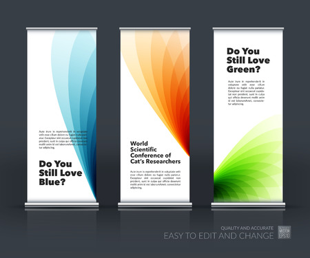 art show: Vector set of modern Roll Up Banner Stand Design with soft shapes and flower wave gradient elements for business and beauty with beautiful overlap effect. Corporate vector vertical flyer.