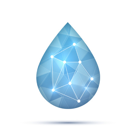 teardrop: Polygonal water or oil or fluid drop, droplet, raindrop for business technology or science design template. Vector illustration. Teardrop and dew. Illustration