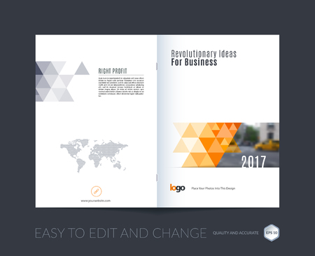 design elements: Abstract brochure template, cover design annual report, magazine, flyer, leaflet in A4 with orange triangular shapes for business, technology in polygonal style with overlay effect. Vector.