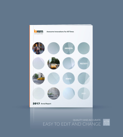 brochure cover design: Vector design for cover annual report. Brochure or flyer template in A4 with grey rounds circles for business technology leaflet layout with polygonal effect. Abstract vector modern poster.