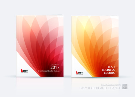 flower layout: Brochure template layout, cover design annual report, magazine, flyer or booklet in A4 with red orange soft wave flower shapes for business and beauty template with beautiful overlap effect. Vector set.