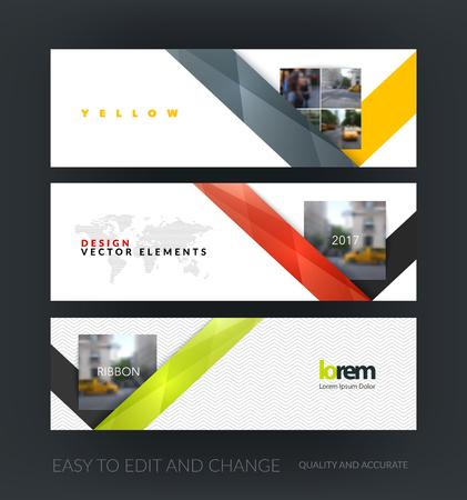 Vektor-Set von modernen horizontalen Website Banner mit blauer Auszug mit Band Streifenform in polygonalen Stil für das Geschäft. Saubere Web-Header-Design. Kreative Corporate Vektor-Flyer.