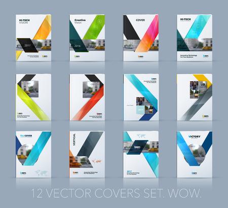カバー年報ベクター デザイン。メガを設定します。ビジネスのための技術の基本概念のレイアウトの多角形スタイルのリボン ストライプ形状と A4