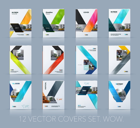 Vector design for cover annual report. Mega set. Brochure or flyer template in A4 with ribbon stripe shape in polygonal style for technology concept layout for business. Abstract modern vector.