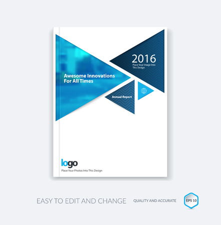 Abstract cover design template for annual report. Brochure or leaflet in A4 with triangular shapes for business and technology in material design style with overlay effect. Vector illustration.