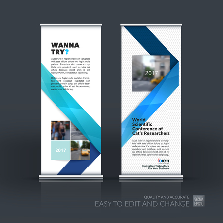 technology banner: Vector set of modern Roll Up Banner Stand Design with blue abstract with ribbon stripe shape in polygonal style for technology concept layout for business. Corporate vector vertical flyer.