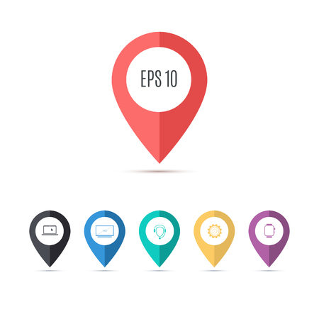 Map pin flat design style modern icons, pointer minimal vector symbol, marker sign for infographics. Stock Vector - 59432874