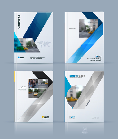 book concept: Vector design for cover annual report set. Brochure or flyer template in A4 with ribbon stripe shape in polygonal style for technology concept layout for business. Abstract modern vector. Illustration