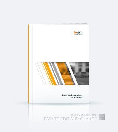 business report: Brochure template layout, cover design annual report, magazine, flyer or booklet in A4 with orange grid, mesh, dots and lines for business books with communication and connection concept. Vector. Illustration
