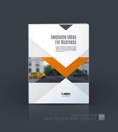 industrial design: Brochure template layout, cover design annual report, magazine, flyer or leaflet in A4 with arrows, triangles with overlap effect for business with industrial and modern concept. Vector. Illustration