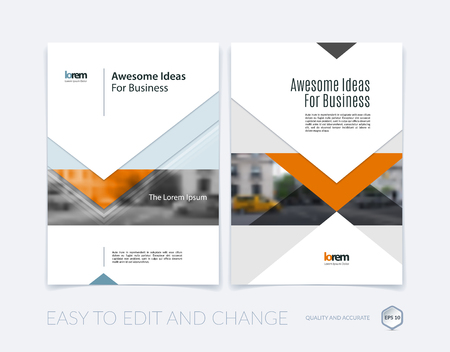 Brochure template lay-out, hoesontwerp jaarverslag, tijdschrift, flyer of folder in A4 met pijlen, driehoeken met overlap effect voor zaken met industriële en modern concept. Vector set.
