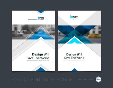 Brochure sjabloon lay-out, cover ontwerp jaarverslag, tijdschrift, flyer of folder in A4 met blauwe pijlen, driehoeken met overlapping effect voor het bedrijfsleven met industriële en moderne concept. Vector set.