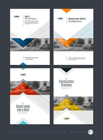 Brochure template lay-out, hoesontwerp jaarverslag, tijdschrift, flyer of folder in A4 met blauwe pijlen, driehoeken met overlap effect voor zaken met industriële en modern concept. Vector set. Stock Illustratie