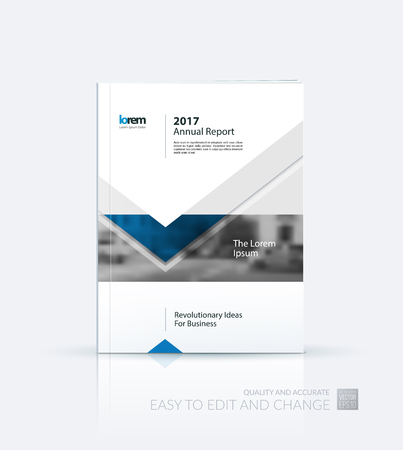 Brochure template layout, cover design annual report, magazine, flyer or leaflet in A4 with blue arrows, triangles with overlap effect for business with industrial and modern concept. Vector. Illustration
