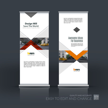 Vector Set Of Modern Roll Up Banner Stand Design With Red Arrows ...